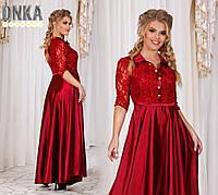 Красивое длинное красное платье с гипюровым верхом и атласным низом. Арт-9681/9