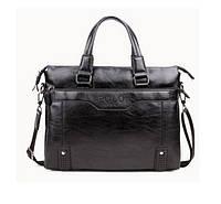 Мужская сумка-портфель Polo, 39-31-8 см. Черная