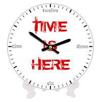 Часы из дерева с принтом Время 18 см