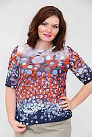 Легкая блуза батальных размеров (рр 52-56) модной расцветки