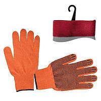 Перчатка х/б трикотаж с точечным покрытием PVC на ладони (оранжевая) (ящик 240пар) INTERTOOL SP-0131W