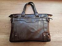 Мужская сумка-портфель Polo, 37-28-8 см. Темно-коричневая.
