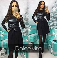 Платье черное дорогой гипюр с эко кожей  12007