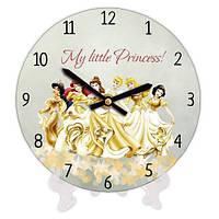 Круглые часы в детскую комнату Принцессы 18 см