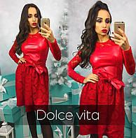 Платье красное дорогой гипюр с эко кожей  12008