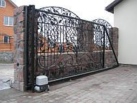 Ворота откатные с художественной ковкой