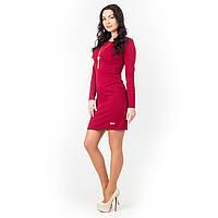 Платье мини из фактурного трикотажа бордо