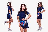 Стильное синее  спортивное платье с цифрами и змейкой. Арт-9682/78