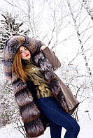 Шикарная парка с мехом золотой чернобурки, утеплитель мутон, верх коттон с пропиткой, размеры M,L