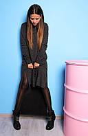 Туника, разная длинна, длинный рукав, ангора меланж,черный, фото 1