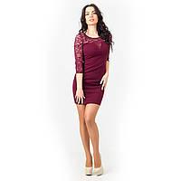 Платье мини с гипюром бордовое, фото 1