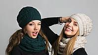 Симпатичный женский комплект из шапочки и шарфа-петли