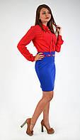 Модная женская юбка-карандаш цвета электрик