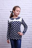 Красивая кофточка-блуза для девочки в горошек