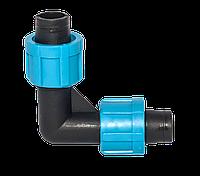 Колено 17 мм зажимное для ленты капельный полив SL-002.3