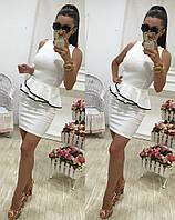 Классное белое  короткое платье из французского трикотажа. Арт-9688/78