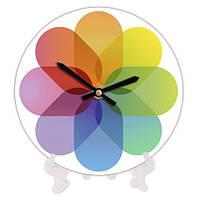 Часы круглые с принтом Цветок 18 см