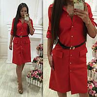 Модное красное платье на пуговичках, с ремнем. Арт-9689/78