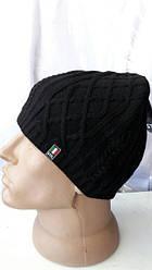 Оригинальная вязаная мужская шапка черного цвета