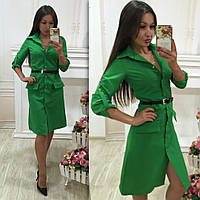 Модное зеленое  платье на пуговичках, с ремнем. Арт-9689/78