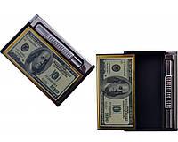 Портсигар с зажигалкой на 10 сигарет и выбросом сигарет Доллар,Евро №3825