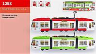 Трамвай 1258 (1011848), инерционный, свет, музыка, на батарейках, в коробке 49,5*14*9 см, пополнение колекции