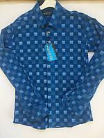 Рубашка клетка на кнопке 10-15 лет