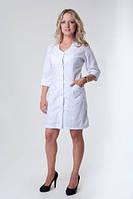 Классический женский медицинский халат на пуговицах с карманами. Размер 40-66