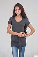 Оригинальный женский удлиненный жилет серого цвета