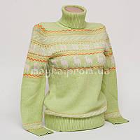 Теплый женский свитер р.44-46 с орнаментом снежинки салатовый B6-1