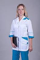 Бело-синий медицинский костюм с карманами, рукав 3/4. Размер 40-66