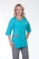 Бирюзово-серый женский медицинский костюм на пуговицах. Размер 40-60
