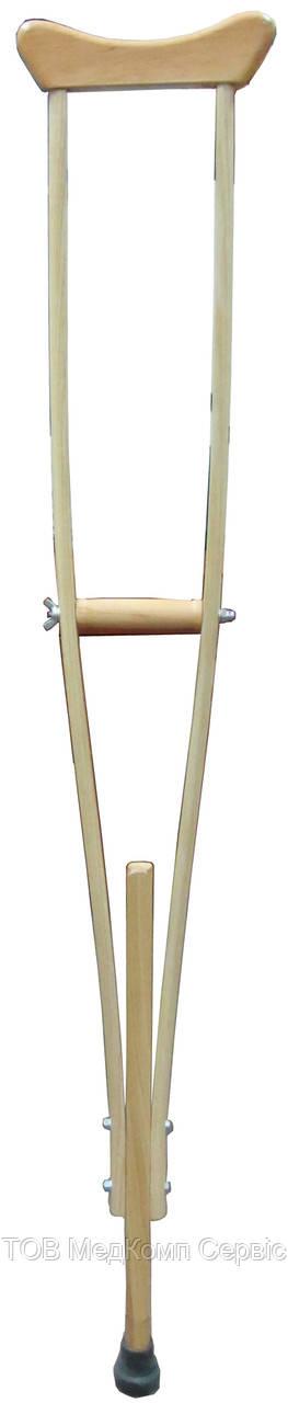 Милиця пахвова MEDOK двостійкова регульована за висотою дерев`яна (розмір S)