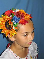 Красивый атласный обруч ,украшенный полевыми цветами