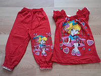 Детский летний костюм, для девочки с рюшиками от 5 до 8 лет