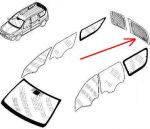 Стекло левой двери багажника (распашенка) без подогрева MCV 5-мест. Производитель: Китай.