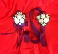 Набор бутоньерка роза для жениха, гостей, свидетелей + браслет на руку невесте,свидетельнице