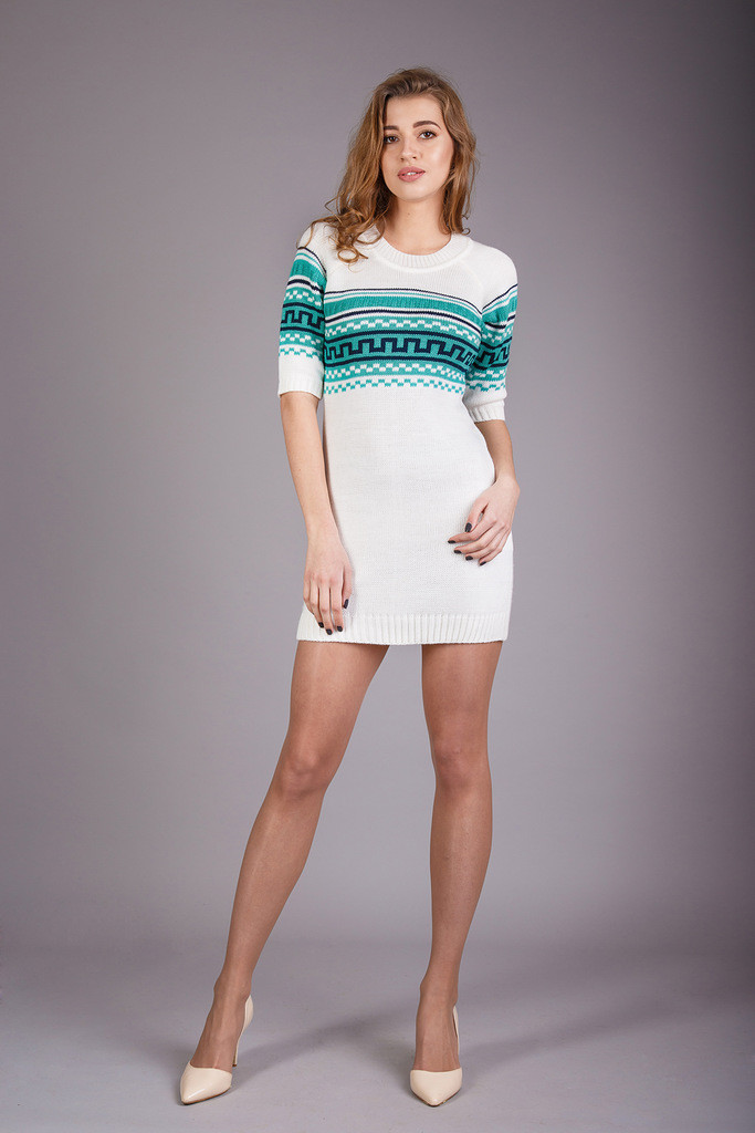ca2e92335a3 Красивая женская вязаная туника молочного цвета - Интернет-магазин женской  одежды