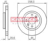 Диск тормозной вентилируемый (259Х20.6)Logan,MCV,Sandero (к-т 2 шт). Производитель: Kamoka.