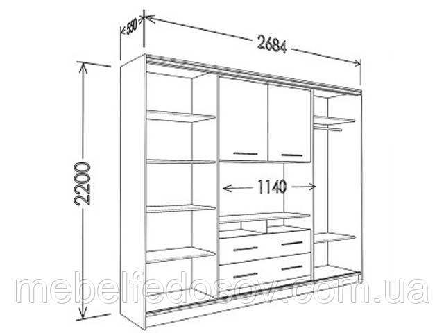 шкаф купе с нишей под телевизор 2700
