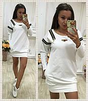 Стильное белое  короткое платье со змейками. Арт-9694/78