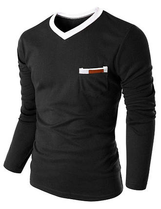 Пуловер чоловічий з кишенею чорний, фото 2