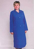 Габардиновый длинный медицинский халат синего цвета