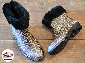 Леопардовые резиновые сапоги женские Litma с утеплителем