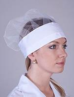 Белая женская медицинская шапка с сеткой