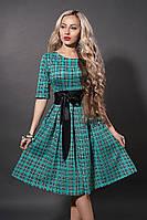 Платье  мод 381-8 размер 46 клетка бирюза мелкая