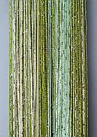 """Шторы-нити (кисея) радуга """"дождик"""" (зеленый+салатовый+молочный), фото 1"""