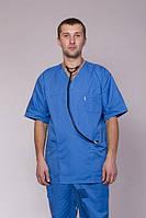 Коттоновый мужской медицинский костюм с коротким рукавом синего цвета