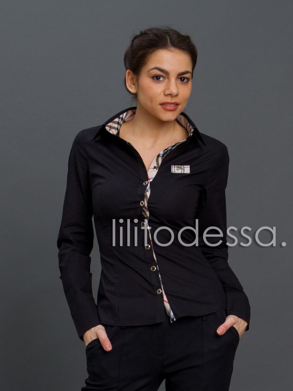 Рубашка комбинированная черный