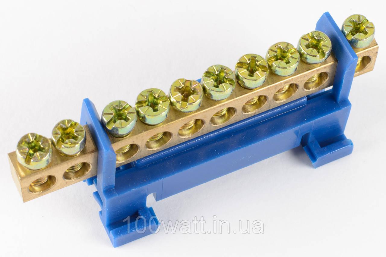 Шина-клемма нулевая на din рейку 10 отверстий ST223
